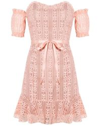 For Love Lemons Mia Paneled Mini Dress In Peach In Natural Lyst