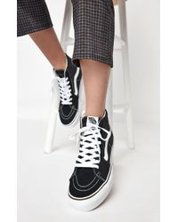 773947d91c Vans - Women s Black   White Sk8-hi Platform Sneakers - Lyst