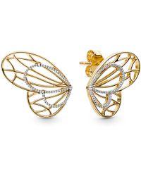 PANDORA - Openwork Butterflies Stud Earrings - Lyst