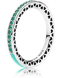 PANDORA - Mint Radiant Hearts Of Ring - Lyst