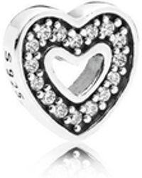 PANDORA - Captured Heart Petite Locket Charm - Lyst