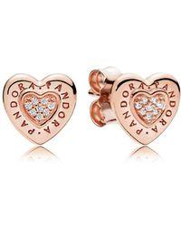 PANDORA - Rose Logo Heart Stud Earrings - Lyst