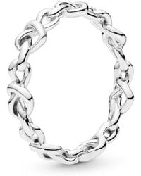 PANDORA - Knotted Hearts Ring - Lyst