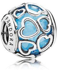 PANDORA - Blue Encased In Love Charm - Lyst