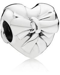 PANDORA - Brilliant Heart Bow Charm - Lyst
