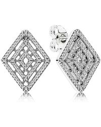 PANDORA - Geometric Lines Earrings - Lyst