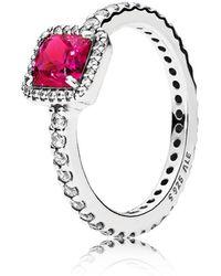 PANDORA - Red Timeless Elegance Ring - Lyst