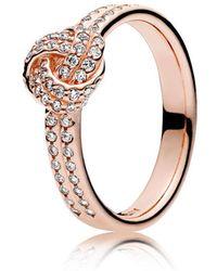 PANDORA - Sparkling Love Knot Ring - Lyst