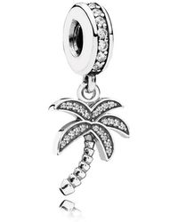 PANDORA - Sparkling Palm Tree Pendant Charm - Lyst