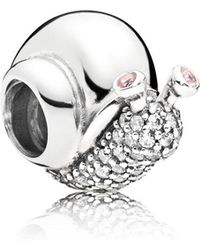 PANDORA - Sparkling Snail Charm - Lyst