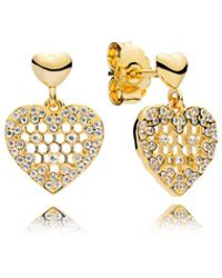 PANDORA - Honeycomb Lace Drop Earrings - Lyst
