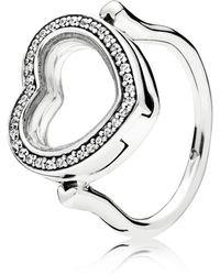 PANDORA - Sparkling Floating Heart Locket Ring - Lyst