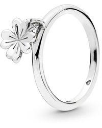 PANDORA - Dangling Clover Ring - Lyst