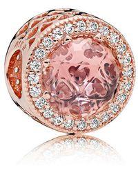 PANDORA - Blush Pink Radiant Hearts Charm - Lyst