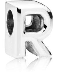 PANDORA - Letter R Charm - Lyst