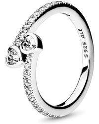 PANDORA - Two Sparkling Hearts Ring - Lyst