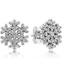 PANDORA - Snowflake Stud Earrings - Lyst