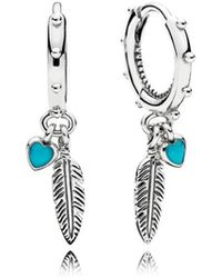 PANDORA - Spiritual Feathers Drop Earrings - Lyst