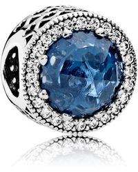 PANDORA - Midnight Blue Radiant Hearts Charm - Lyst