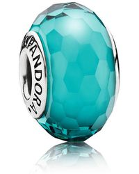 PANDORA - Teal Faceted Murano Charm - Lyst