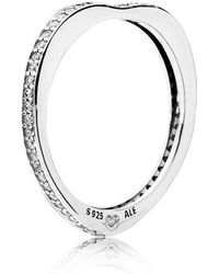 PANDORA - Sparkling Arcs Of Love Ring - Lyst