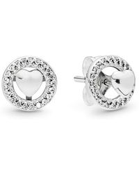 PANDORA - Forever Hearts Stud Earrings - Lyst