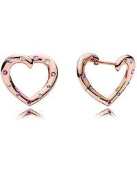 PANDORA - Bright Hearts Hoop Earrings - Lyst