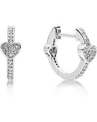 6b5b07078 Lyst - PANDORA Asymmetrical Hearts Of Love Hoop Earrings in Metallic