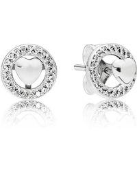 PANDORA - Forever Hearts Stud Earrings - Lyst