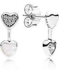 PANDORA - Hearts Of Love Stud Earrings - Lyst