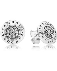 PANDORA - 'signature' Logo Stud Earrings - Lyst
