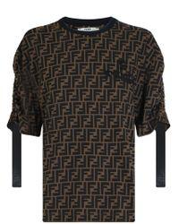 Fendi - Ff Logo T-shirt S/s Tobacco - Lyst