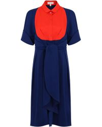 Delpozo - Contrast Bib Shirt Dress Indigo Blue - Lyst