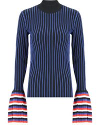 Emilio Pucci - Stripe Rib Knit Top Black/blue - Lyst