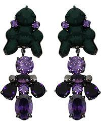 EK Thongprasert - Silicone Drop Earrings Dark Green/amethyst Crystals - Lyst