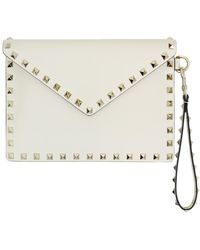 3c83ed08995 Valentino - Small Rockstud Envelope Pouch Smooth Leather Light Ivory - Lyst