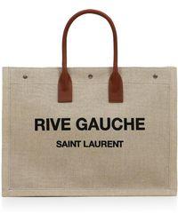 Saint Laurent - Noe Large Canvas Tote Natural/cognac - Lyst