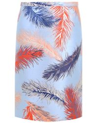 Emilio Pucci - Jacquard Pencil Skirt Feather Print Blue/red/gold - Lyst