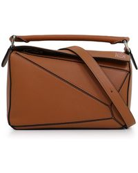 4d74319a2eef Lyst - Loewe puzzle Mini Canvas   Leather Crossbody Bag in Brown