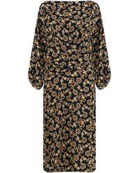 Isabel Marant - Etoile L/s Lisa Floral Print Midi Dress Ochre/black - Lyst
