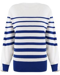 Sacai - Stripe Knit With Laced Back Off White/navy - Lyst
