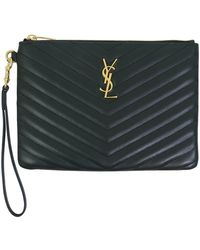 Saint Laurent - Small Monogramme Quilted Pouch Algae/gold - Lyst