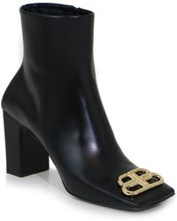 fe0734bb451e Lyst - Balenciaga Black Square Toe Leather Ankle Boots in Black