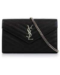 Saint Laurent - Monogramme Quilted Wallet On Chain Black/silver - Lyst