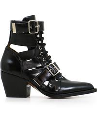Chloé - Black Rylee 60 Leather Buckle Ankle Boots - Lyst