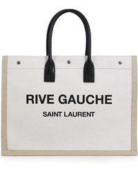 Saint Laurent - Noe Large Canvas Tote White/black - Lyst