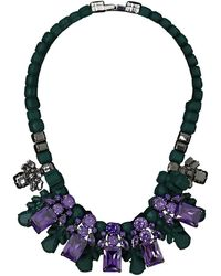 EK Thongprasert | Silicone Five Jewel & Metal Neckpiece Dark Green/amethyst Crystals | Lyst