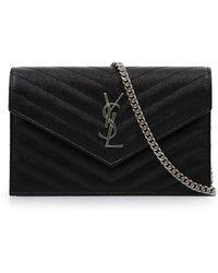Saint Laurent - Monogramme Envelope Quilted Chain Wallet Black silver - Lyst 822b2fba0582f