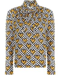 Fendi - L/s Heart Print Knit Top White - Lyst