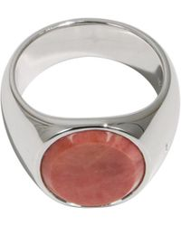 Tom Wood - Pink Rhodonite Oval Ring Silver - Lyst
